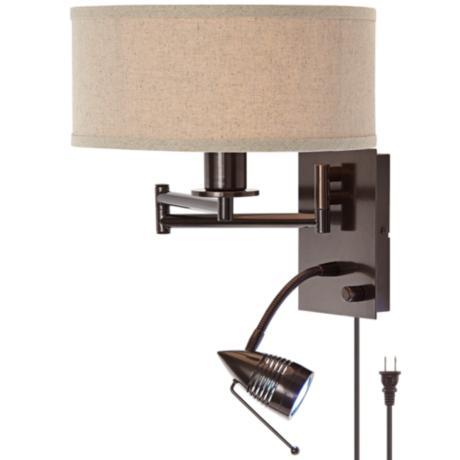 possini euro plug in tiger bronze swing arm wall lamp. Black Bedroom Furniture Sets. Home Design Ideas