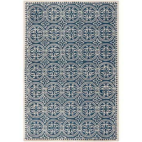 Safavieh Cambridge CAM123G Navy Blue/Ivory Wool Rug