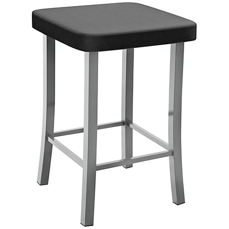 "Amisco Ryan Ink 30"" Magnetite Glossy Gray Bar Stool"