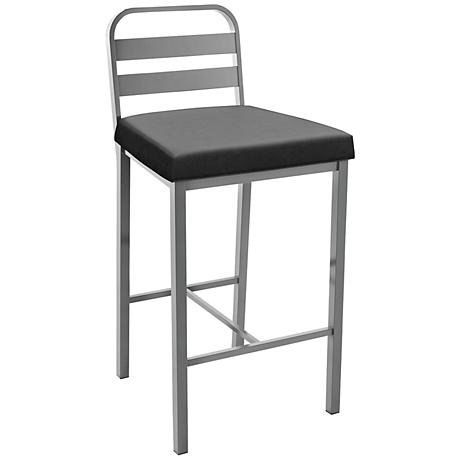 "Amisco Alberto Ink 30"" Magnetite Glossy Gray Bar Stool"