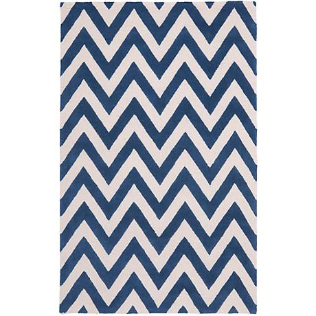 Safavieh Cambridge CAM139G Navy Chevron Wool Rug
