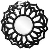 "Howard Elliott Casey 32"" Round Black Flower Mirror"