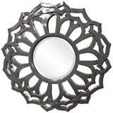 "Howard Elliott Casey 32"" Round Charcoal Gray Flower Mirror"