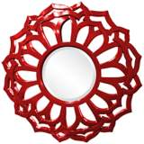 "Howard Elliott Casey 32"" Round Red Flower Mirror"
