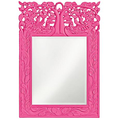 "Howard Elliott Oakvale 17"" x 25"" Hot Pink Wall Mirror"