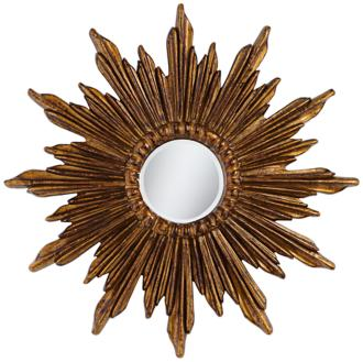 "Calpella Dark Gold 29 1/4"" Round Sunburst Wall Mirror (5K089)"