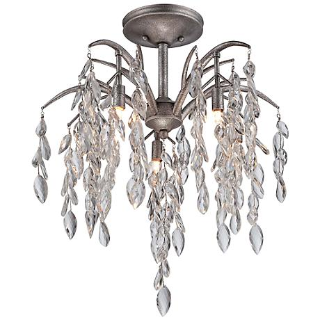 "Metropolitan Bella Flora 21 3/4"" Wide Silver Ceiling Light"