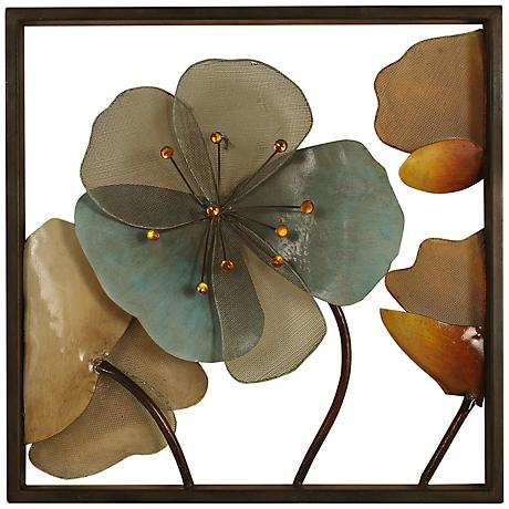 "Acrylic Flowers 16"" Square Metal Framed Wall Art"
