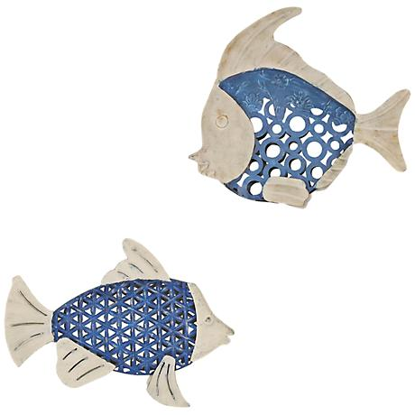"Set of 2 Seablue Openwork 12"" Wide Metal Fish Wall Art"