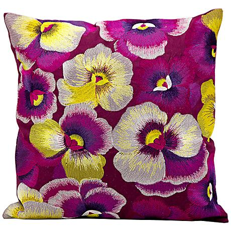 "Kathy Ireland Happiness 18"" Square Multicolor Pillow"