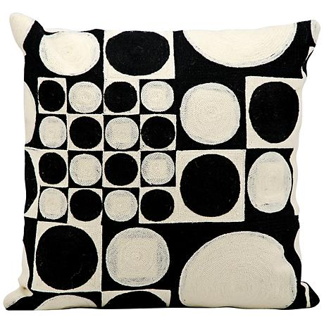 "Kathy Ireland Endless 18"" Square Black and Ivory Pillow"