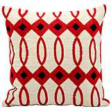"Kathy Ireland Villa 18"" Square Ivory and Red Pillow"