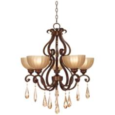 "Lovilia Iron Scroll 28"" Wide Golden Bronze Chandelier"