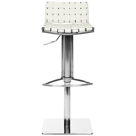 Thornley Gas Lift White Bonded Leather Bar Stool