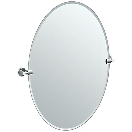"Gatco Chrome Zone 28 1/2"" x 32"" Large Oval Wall Mirror"