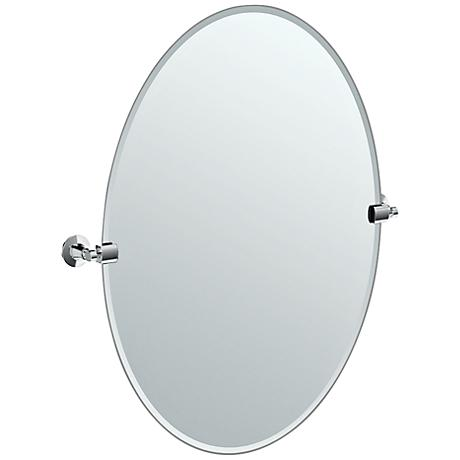 "Gatco Chrome Max 28 1/2"" x 32"" Large Oval Wall Mirror"