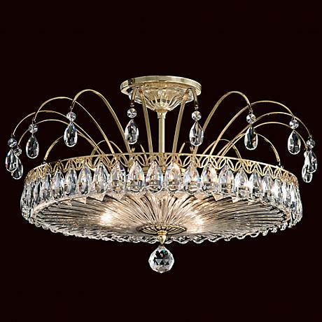 "Schonbek Fontana Luce 19"" Wide Gold Crystal Ceiling Light"