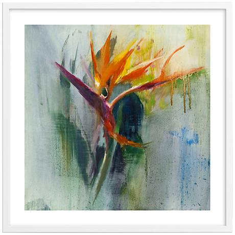 "Bird of Paradise I 30"" Square Framed Floral Wall Art"