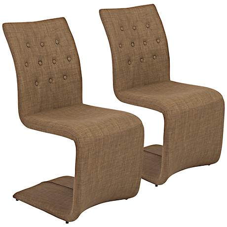 Zad Mocha Fabric Modern Side Chair Set of 2