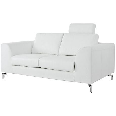 Angela White Leather and Stainless Steel Sofa