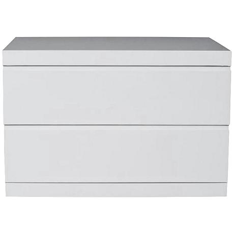 Anna High Gloss White Large Nightstand
