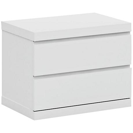 Anna High Gloss White Small Nightstand