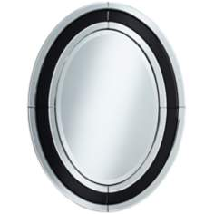 "Edmonton 25 3/4"" x 34"" Oval Black Glass Wall Mirror"