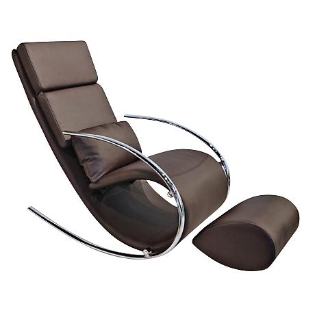 Chloe Chocolate Leatherette Rocker Chair and Ottoman