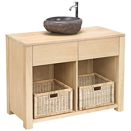Elegance Collection Light Natural Wood Single Sink Vanity
