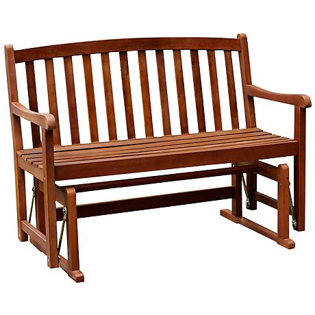 Benton Natural Acacia Outdoor 2-Person Glider Bench