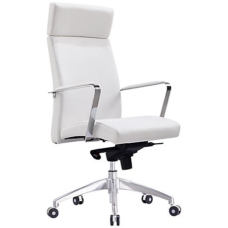 Clemson White Faux Leather Executive Office Chair