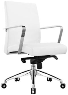 Clemson White Faux Leather Low Back Office Chair (5N201) 5N201