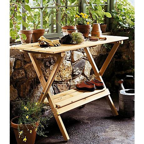 Brooktrails outdoor simple potting bench console table 5n273 www lampsplus com