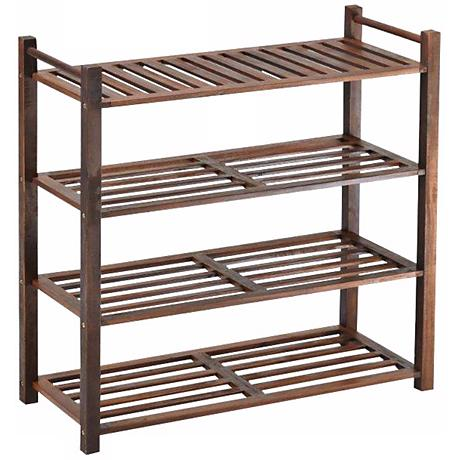 Fletcher Natural Acacia 4-Tier Outdoor Shoe Rack