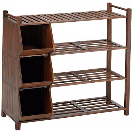 Fletcher Natural Acacia 4-Tier Outdoor Shoe Rack with Cubby