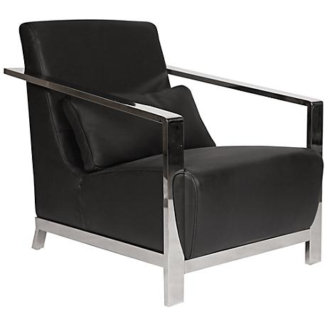 Erika Stainless Steel and Black Leather Armchair