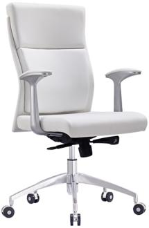 Harvard White Faux Leather Low Back Office Chair (5N562) 5N562