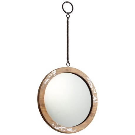 Thru the looking glass 9 round antique white wall mirror for Looking for wall mirrors