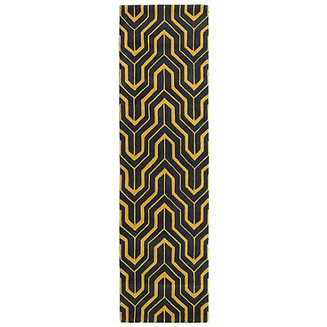 Kaleen Revolution REV01-28 Gray and Yellow Wool Area Rug
