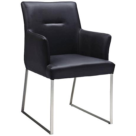 Larry Nickel Accent Black Faux Leather Dining Armchair