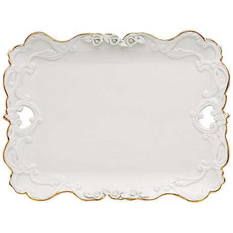 Marie Antoinette White Porcelain Gold Trim Small Platter