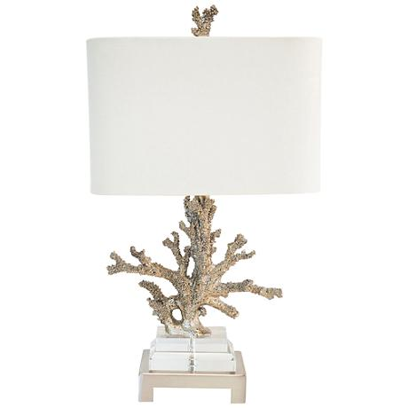 Couture Coral Silver and Brushed Nickel Table Lamp