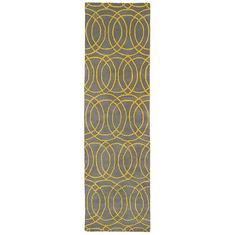 Kaleen Revolution REV02-28 Gray and Yellow Wool Area rug