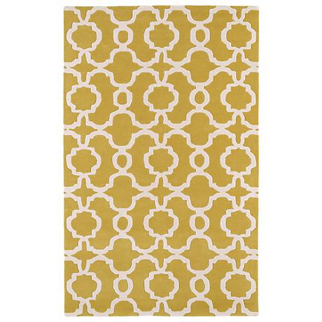 Kaleen Revolution REV03-28 Yellow Wool Area Rug