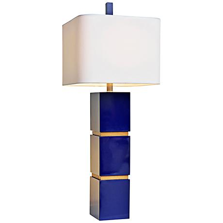 Couture Wilshire High Gloss Indigo Blue Table Lamp