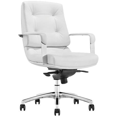 Princeton Low Back White Faux Leather Office Chair