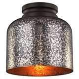 "Feiss Hounslow 9"" High Bronze and Glass Ceiling Light"