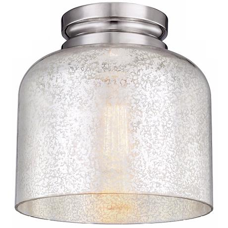 "Feiss Hounslow 9"" High Nickel and Glass Ceiling Light"
