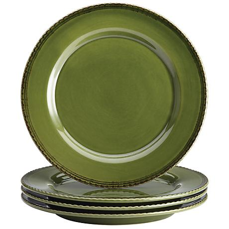 BonJour Sierra Pine Stoneware Green Dinner Plate Set of 4