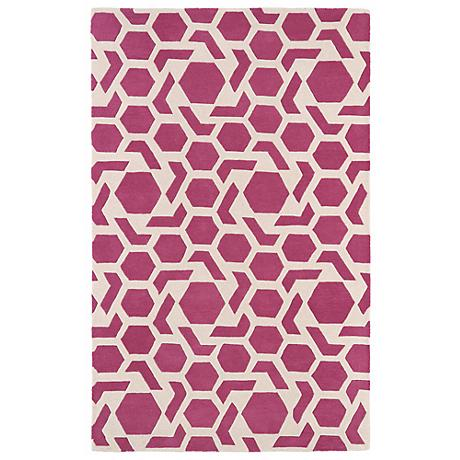 Kaleen Revolution REV05-92 Pink Wool Area Rug
